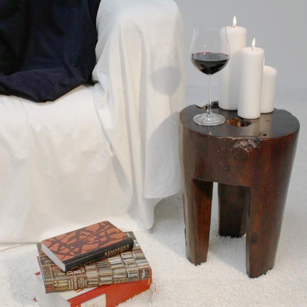 teak holz hocker mit 3 f en wohnen sitzen beistelltisch deko massiv braun rund ebay. Black Bedroom Furniture Sets. Home Design Ideas