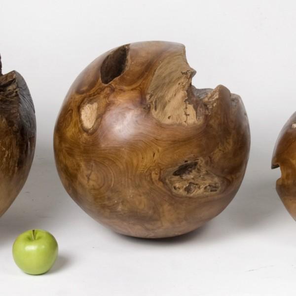 Teak holz kugel dekoration au en innen 30 cm lasiert ebay for Dekoration innen