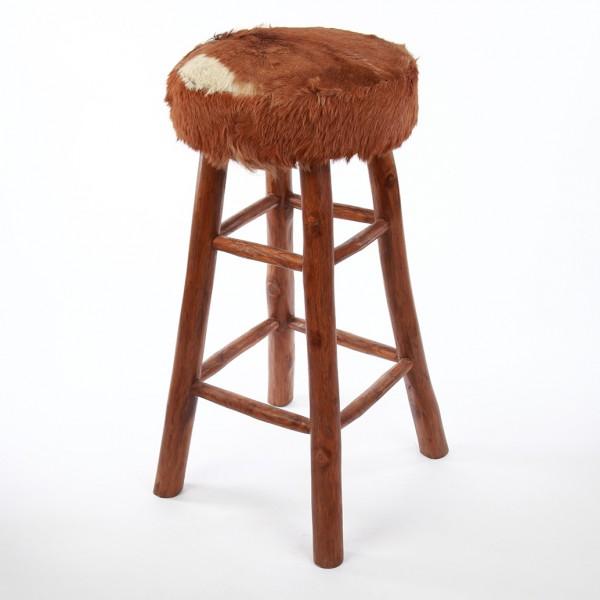 ziegenfell barhocker 80 cm rund braun ebay. Black Bedroom Furniture Sets. Home Design Ideas