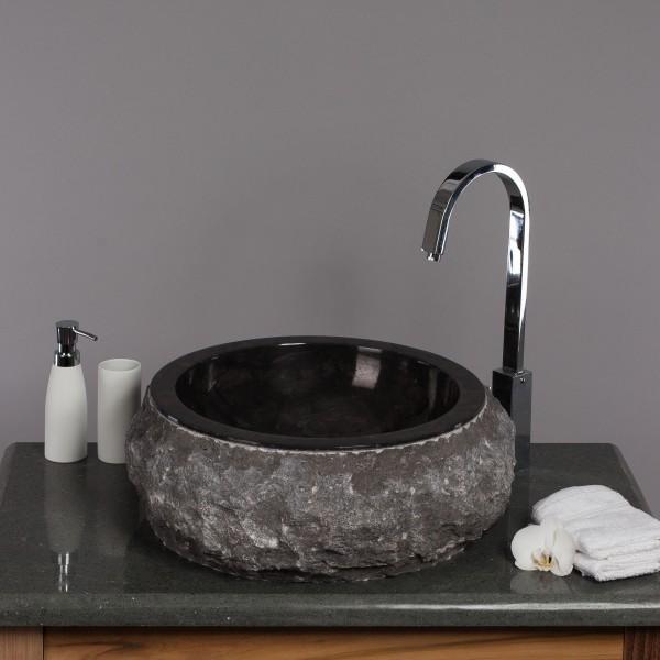 marmor waschbecken donat 45 cm rund schwarz. Black Bedroom Furniture Sets. Home Design Ideas