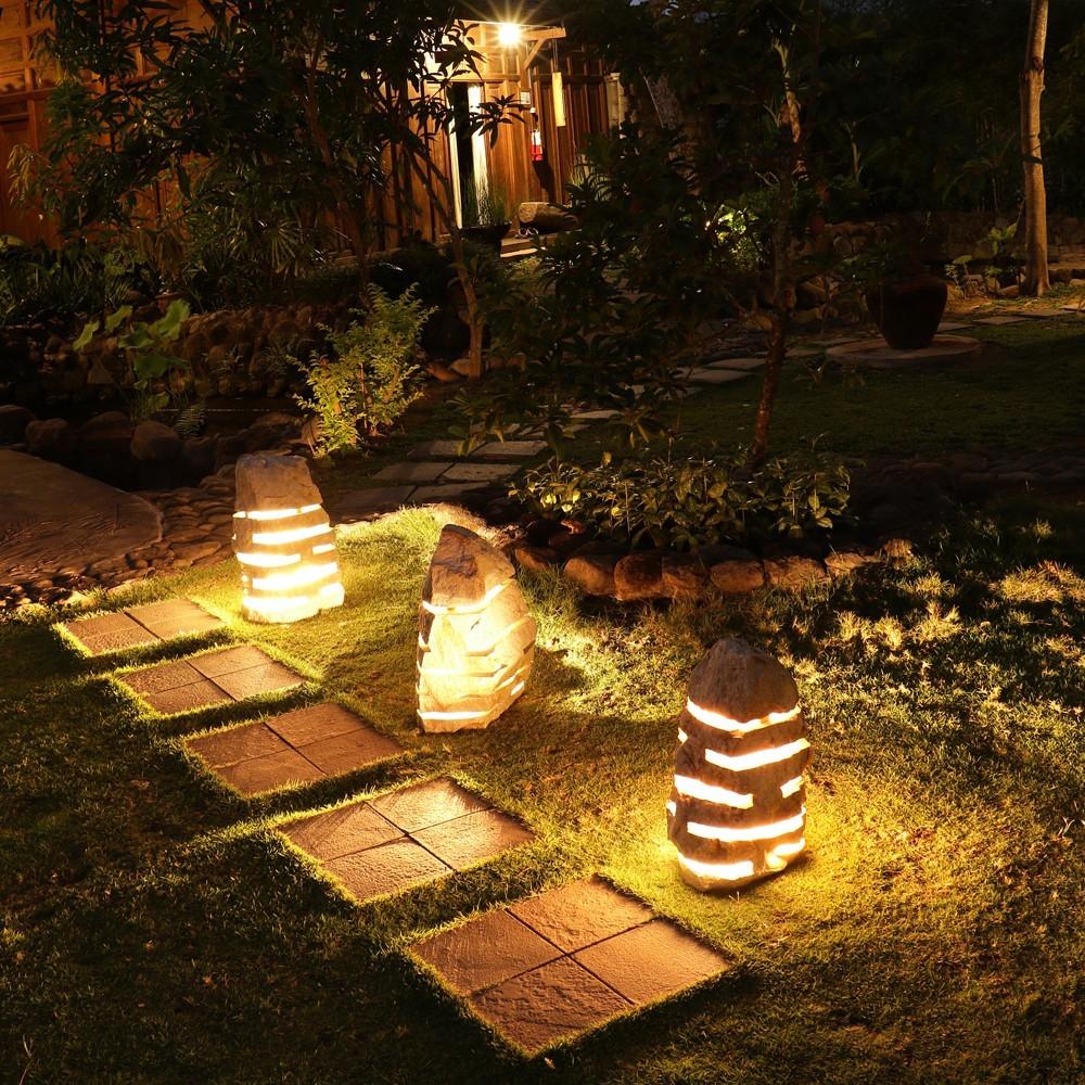 Marmor garten leuchte natur mit elektrik bei - Gartenlampe selber bauen ...