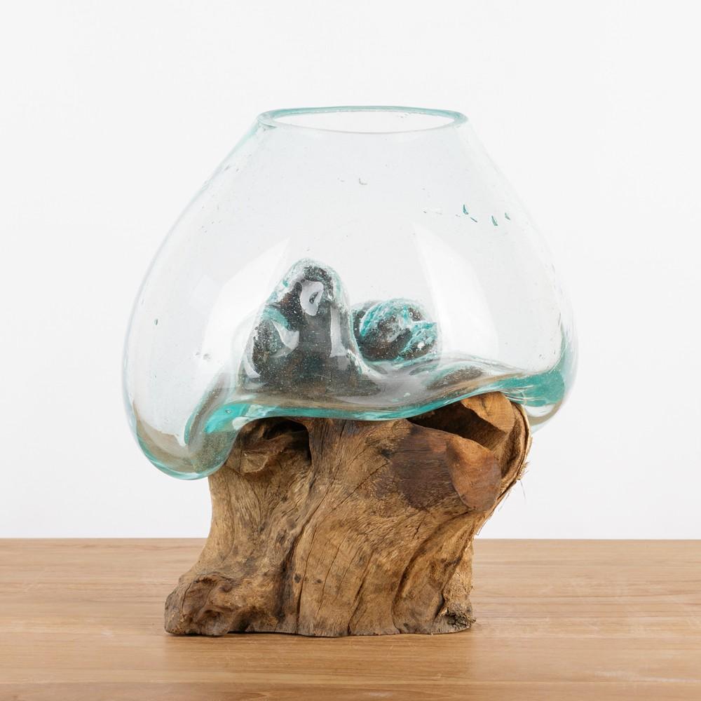 teak holz deko wurzel mit glas gr m 25 35 cm bei. Black Bedroom Furniture Sets. Home Design Ideas