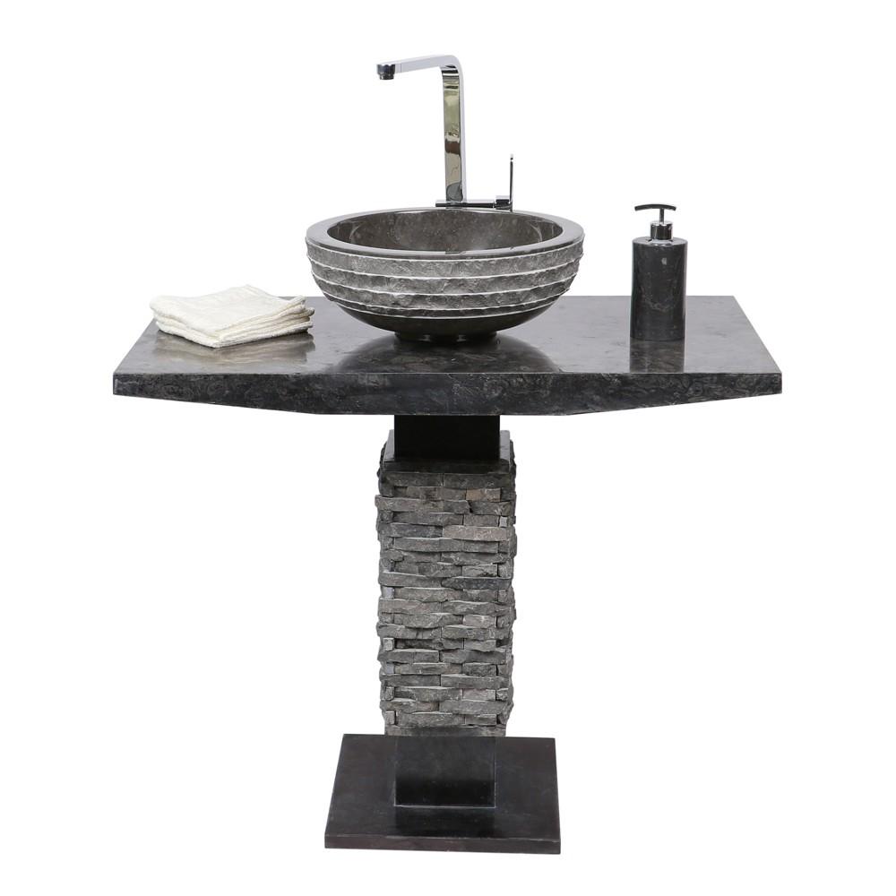marmor waschtisch s ule t model inkl waschbecken schwarz bei wohnfreuden kaufen. Black Bedroom Furniture Sets. Home Design Ideas
