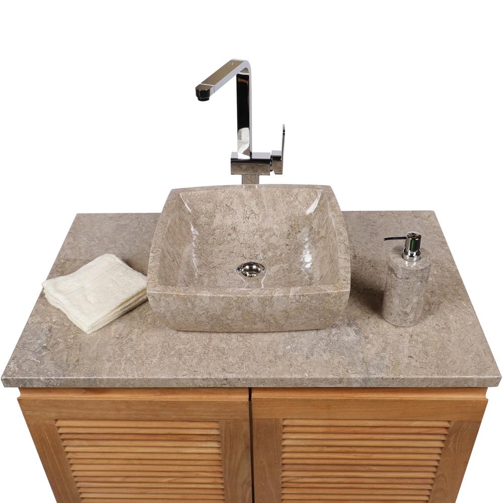 marmor waschbecken mara poliert grau 40x40x13 cm bei wohnfreuden kaufen. Black Bedroom Furniture Sets. Home Design Ideas