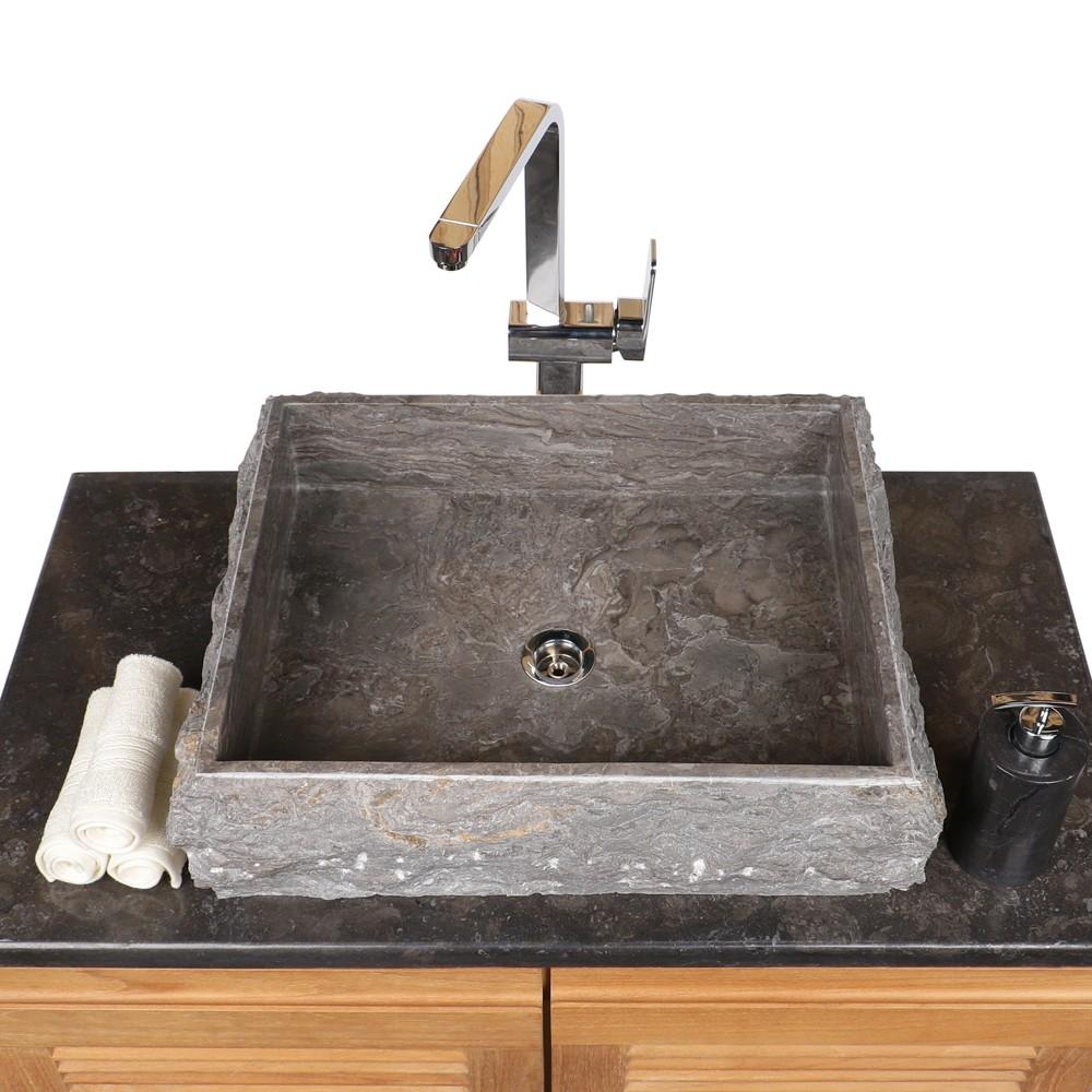 marmor waschbecken kotak 50 cm grau bei wohnfreuden kaufen. Black Bedroom Furniture Sets. Home Design Ideas