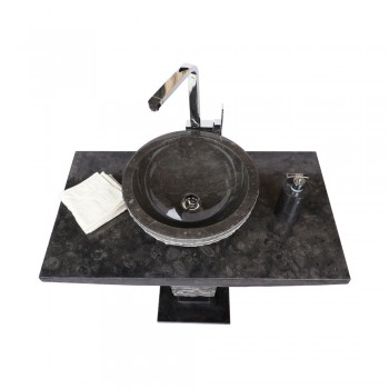 marmor waschtisch s ule t model inkl waschbecken schwarz. Black Bedroom Furniture Sets. Home Design Ideas