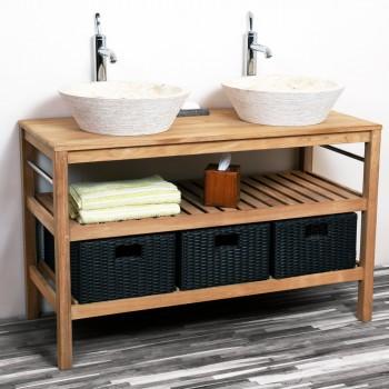 teak holz zen waschtisch natur 60x40x74cm bei wohnfreuden kaufen. Black Bedroom Furniture Sets. Home Design Ideas