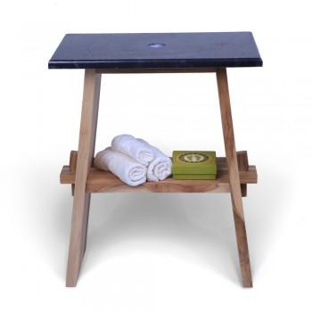 teak holz waschtisch zen inkl marmorplatte schwarz 60x40x74 cm. Black Bedroom Furniture Sets. Home Design Ideas