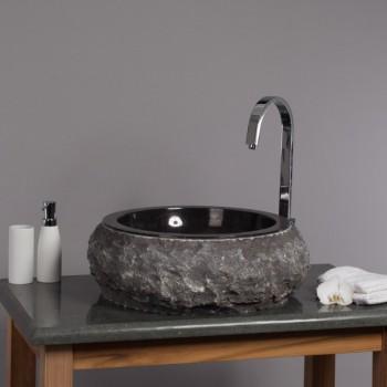 Waschbecken rund stein  Marmor - Waschbecken 09 asymetrisch 40 cm schwarz