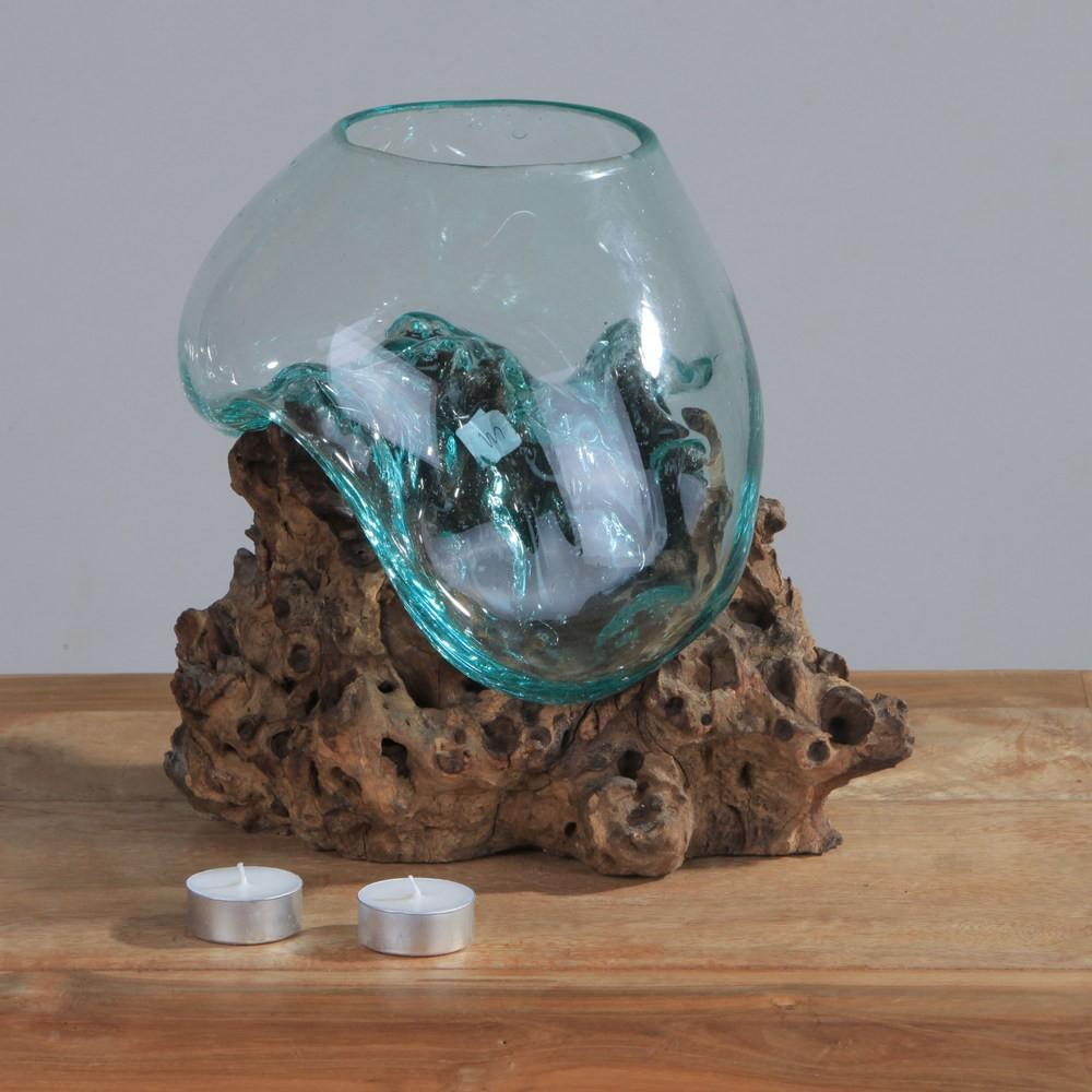 Teak holz deko wurzel mit glas gr m 25 35 cm - Glas mit kugeln dekorieren ...