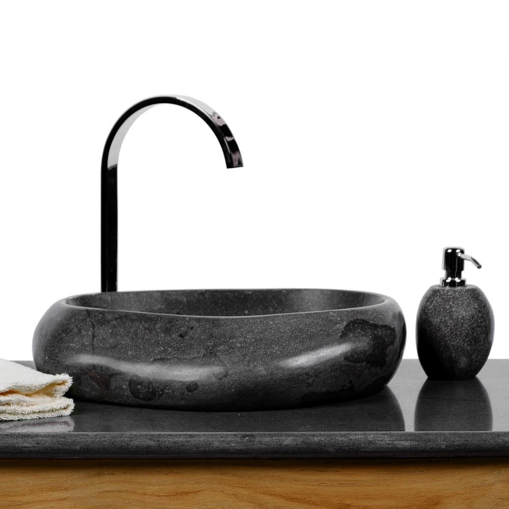 wave findlings waschbecken 40 cm innen und au en poliert flu stein waschbecken natur stein. Black Bedroom Furniture Sets. Home Design Ideas