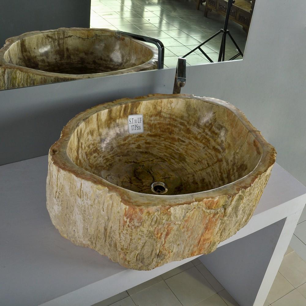 waschbecken fossiles holz braun 74x62x25cm. Black Bedroom Furniture Sets. Home Design Ideas