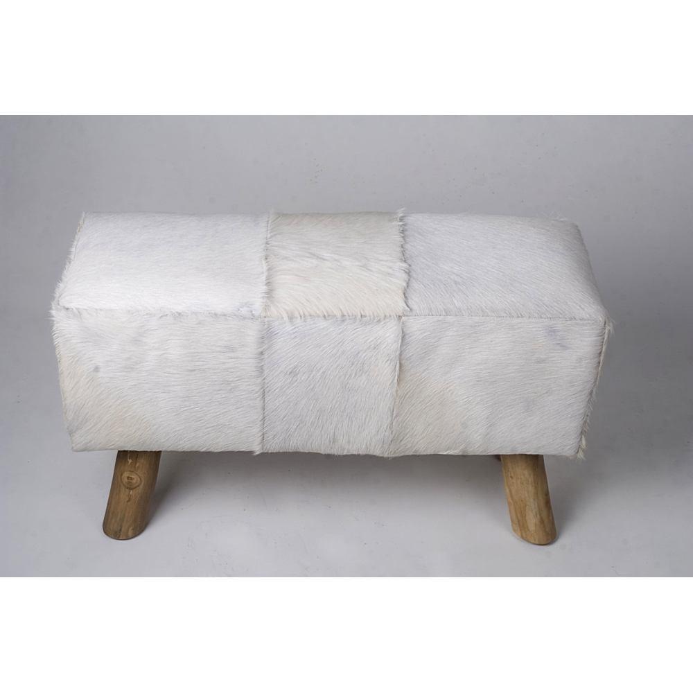ziegen fell bank wei 80x37x41cm. Black Bedroom Furniture Sets. Home Design Ideas