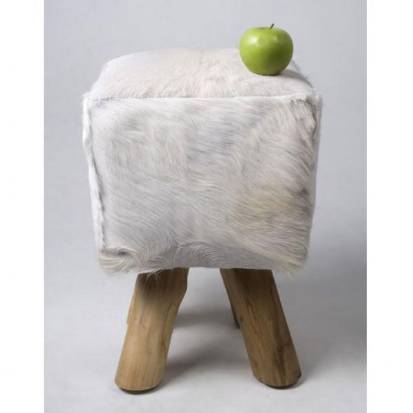 ziegen fell hocker quadratisch wei 42 cm bei. Black Bedroom Furniture Sets. Home Design Ideas