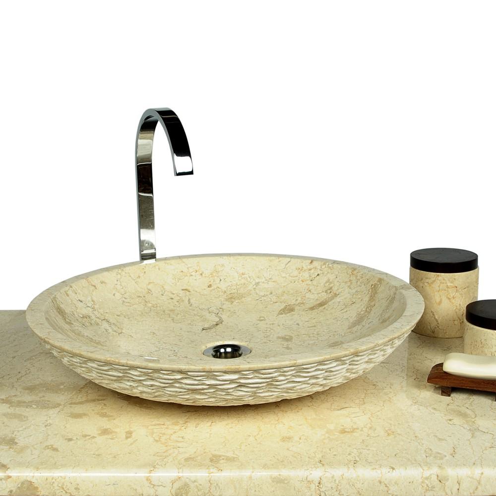 marmor waschbecken lemper geh mmert 50 cm creme. Black Bedroom Furniture Sets. Home Design Ideas