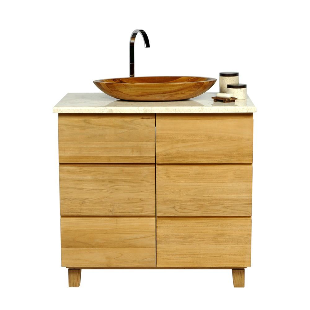 teak holz waschbecken aus edelstem teak oval 60x40x10 cm. Black Bedroom Furniture Sets. Home Design Ideas