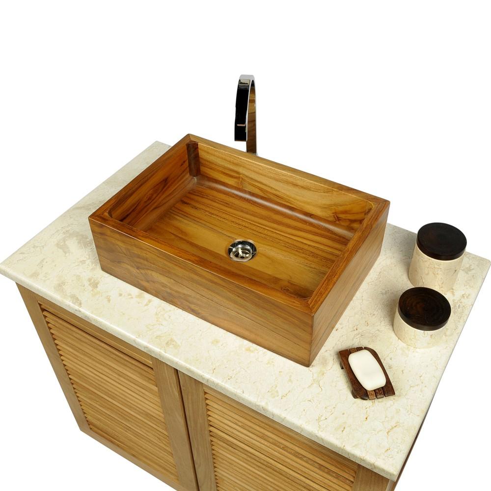 teakholz waschbecken aus edelstem teak rechteckig. Black Bedroom Furniture Sets. Home Design Ideas