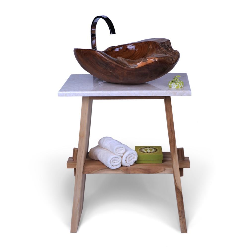 teak holz waschtisch zen inkl marmorplatte creme 60x40x74. Black Bedroom Furniture Sets. Home Design Ideas