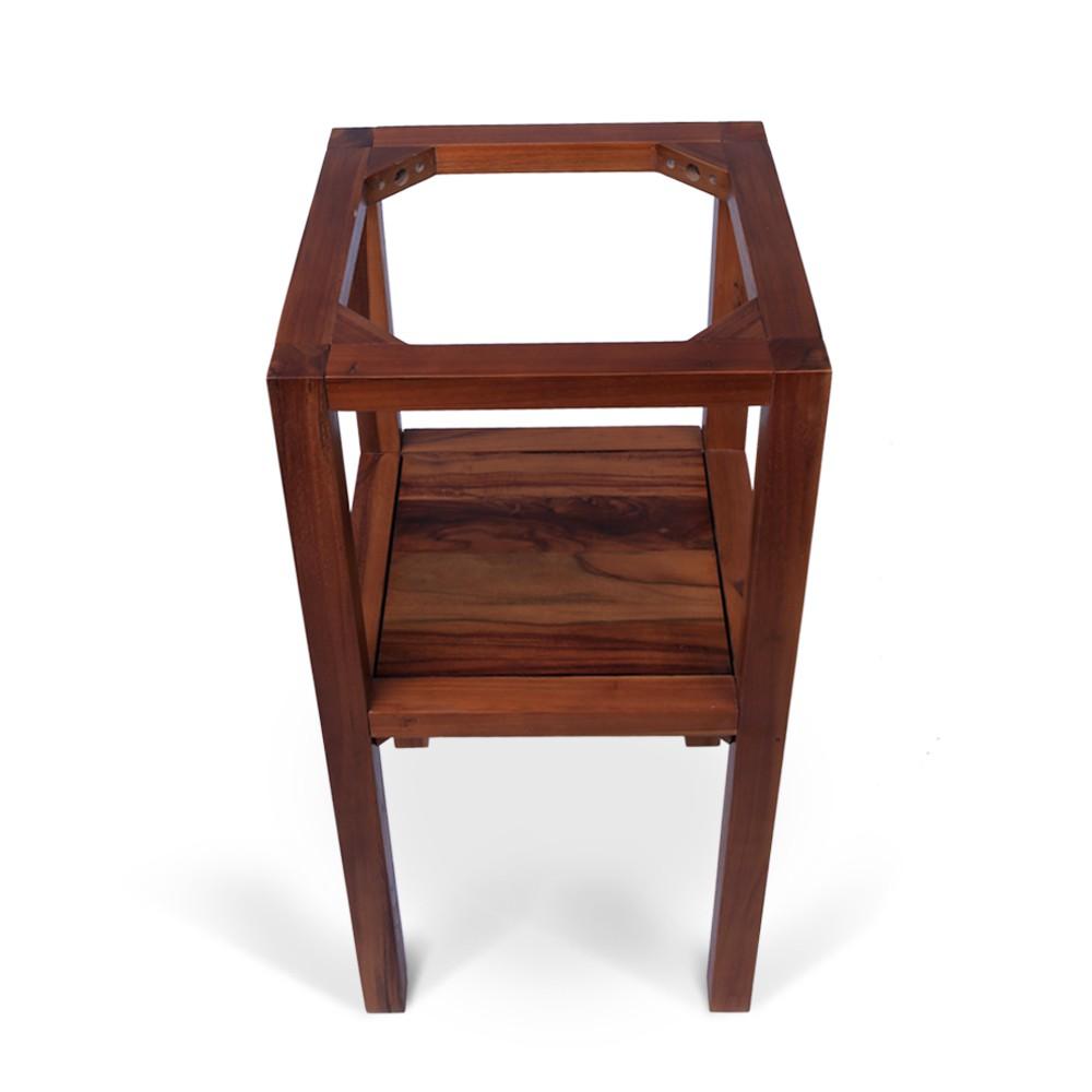 teak holz waschtisch smini inkl marmorplatte schwarz 40x40x80cm bei wohnfreuden kaufen. Black Bedroom Furniture Sets. Home Design Ideas