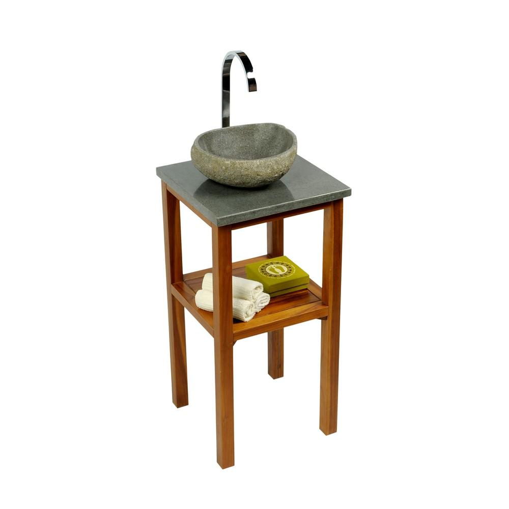 teak holz waschtisch smini inkl flu steinplatte 40x40x80cm bei wohnfreuden kaufen. Black Bedroom Furniture Sets. Home Design Ideas