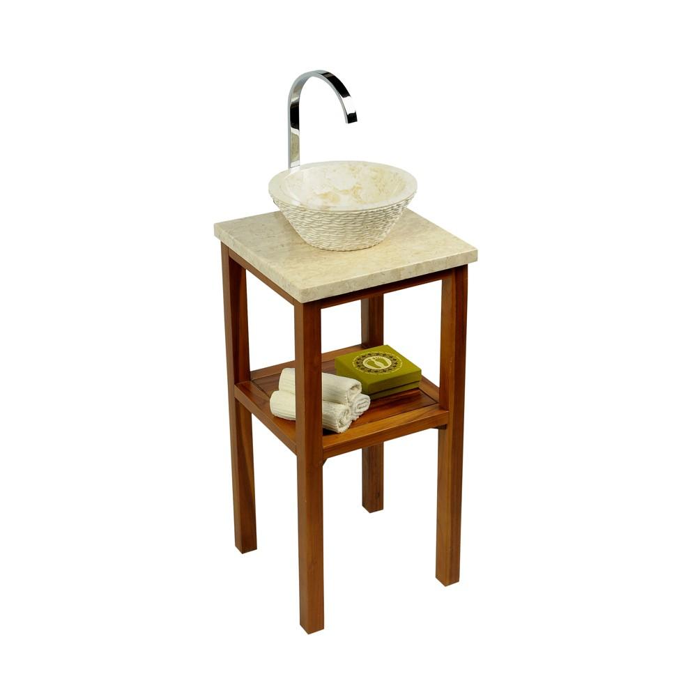 teak holz waschtisch smini inkl marmorplatte creme 40x40x80cm bei wohnfreuden kaufen. Black Bedroom Furniture Sets. Home Design Ideas