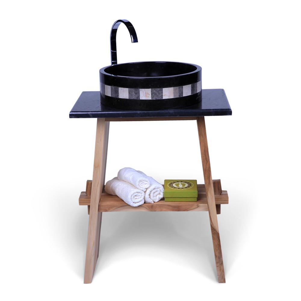 teak holz waschtisch zen inkl marmorplatte schwarz. Black Bedroom Furniture Sets. Home Design Ideas