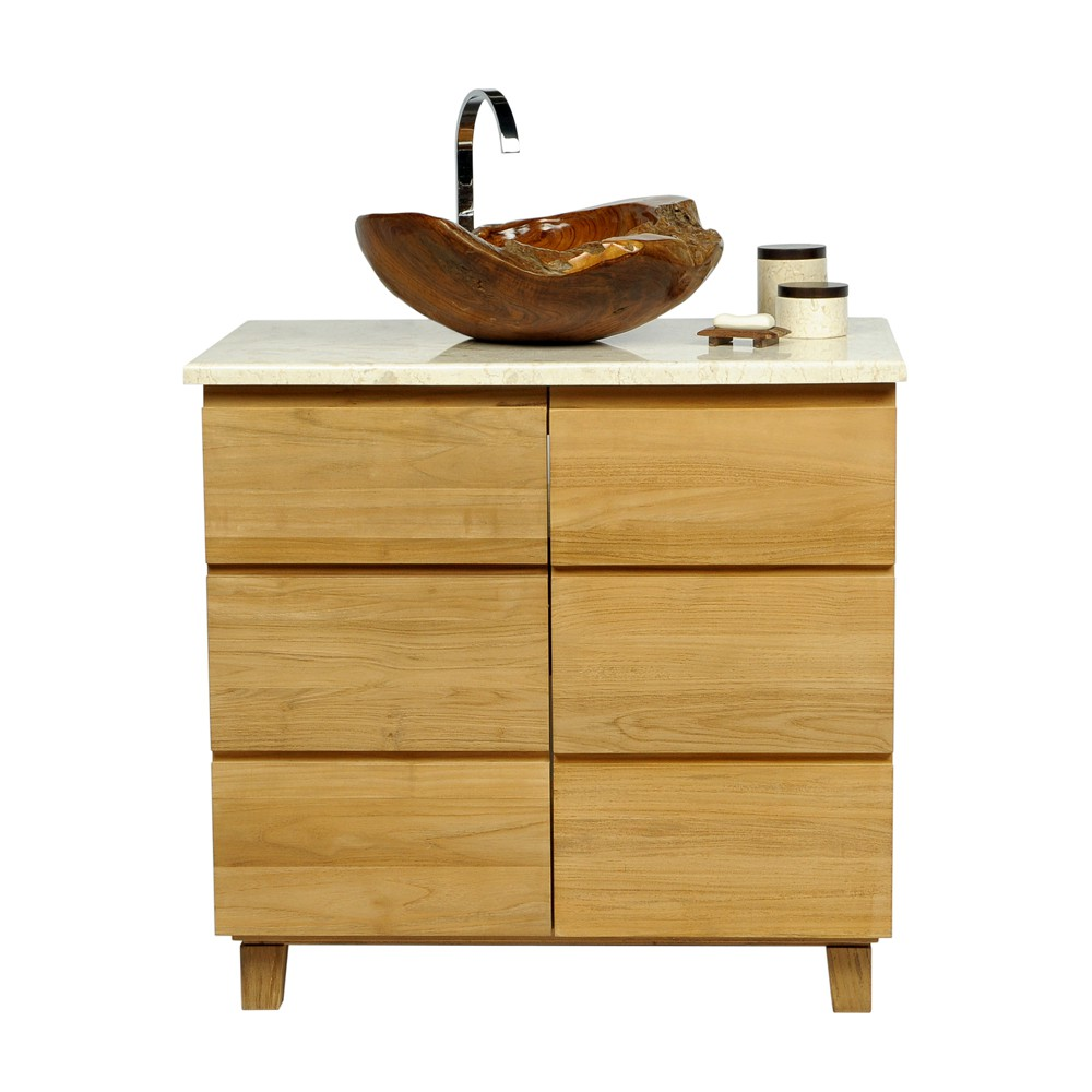 teakholz waschbecken 45 cm braun bei wohnfreuden kaufen. Black Bedroom Furniture Sets. Home Design Ideas