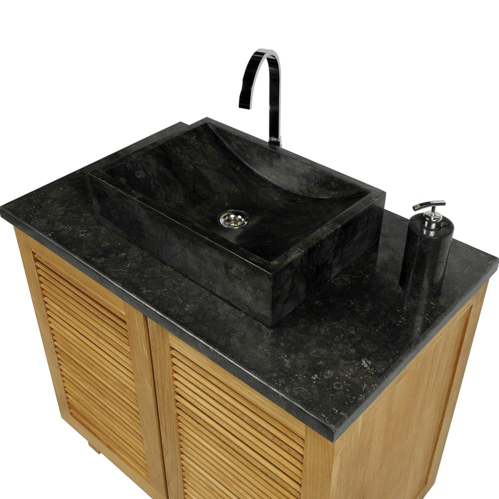 marmor waschbecken perahu schwarz 50 cm. Black Bedroom Furniture Sets. Home Design Ideas