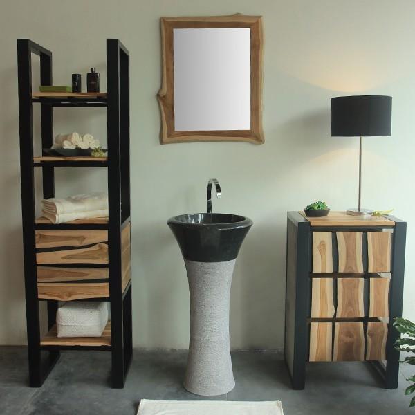 marmor waschtisch s ule tulip 45 cm schwarz bei. Black Bedroom Furniture Sets. Home Design Ideas