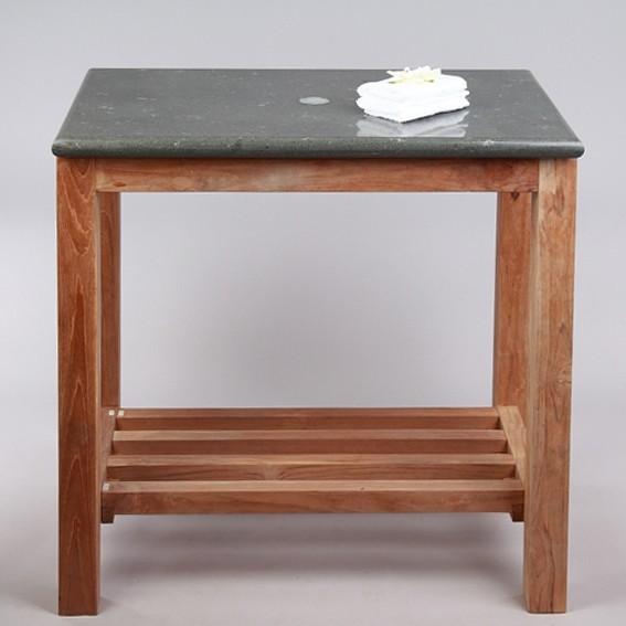 teak holz waschtisch mit natursteinplatte 80x50x76cm bei wohnfreuden kaufen. Black Bedroom Furniture Sets. Home Design Ideas
