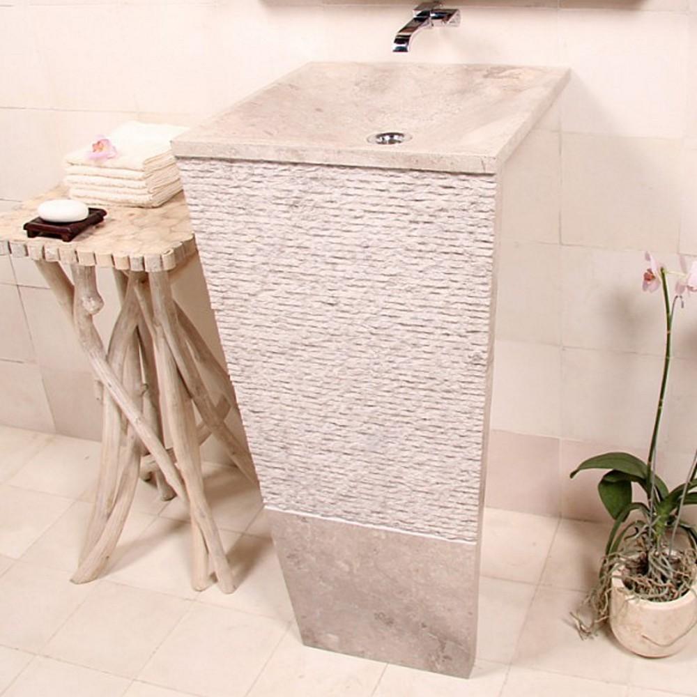 marmor waschtisch s ule seven 40 cm creme bei wohnfreuden kaufen. Black Bedroom Furniture Sets. Home Design Ideas